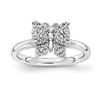 2.25mm 925 Sterling Argento Rhodium placcato Stackable Expressions Diamond Butterfly Angel Wings Jewelry Regali per Wom