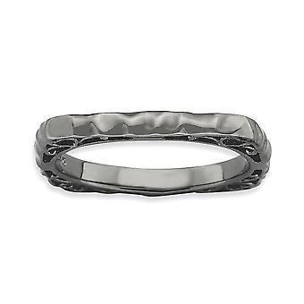 2,25 mm 925 Sterling Silber Ruthenium Beschichtung stapelbare Ausdrücke poliert schwarz Platte Platz Ring Schmuck Geschenke für Wo