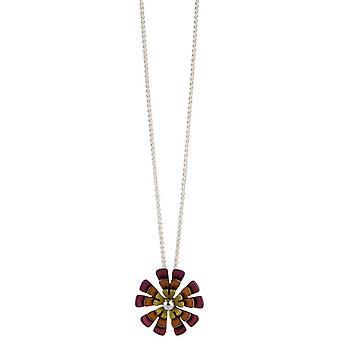 Ti2 Titanium dreifach zehn Blütenblatt Blume Halskette - Brown