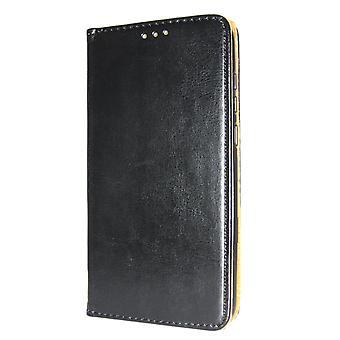 Echte lederen boek slanke iPhone XS/X Wallet Case zwart