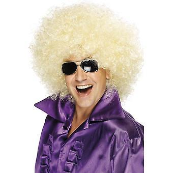 Tuuhea blondi Afro-peruukki, Afro-peruukki. Mega suuri 1970 Disco, naamiaispuku
