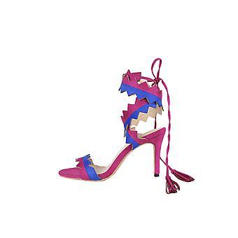 LMS-umlaufende Zick-Zack-Heel-Sandalen In Pink & Blau