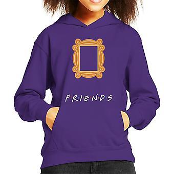 Friends Peephole Door Frame Silhouette Kid's Hooded Sweatshirt