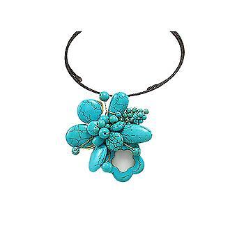 Blomst turkis edelstener halskjede