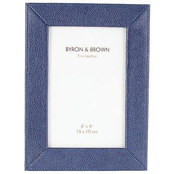 Byron and Brown Florence Slim Classic Leather Photo Frame 6x4 - Blue