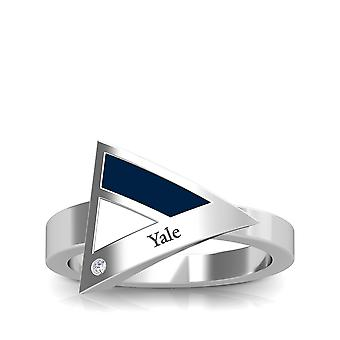 Yale University Engraved Sterling Silver Diamond Geometric Ring In Blue & White