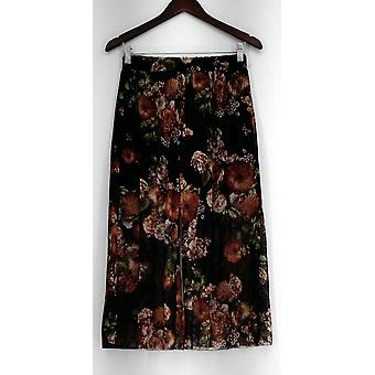 Kate & Mallory Pants Floral Print Stretch Waist Mesh Lining Black A434923