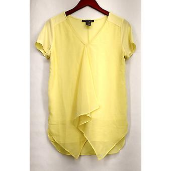 Kate Mallory Top Knit Chiffon Short Sleeved Rufled Front Top Jaune A426071
