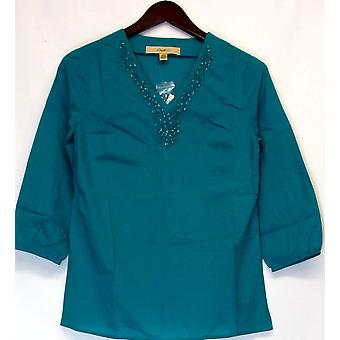 Motto XXS 3/4 Sleeve Tunic Top w/ Embellished V-neck Turquoise A212786