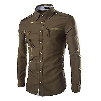 Allthemen menn ' s skjorte bomull fire sesonger slim fit langermet skjorte