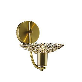 Diyas Ellen Wall Lamp 1 Light Satin Brass/Crystal