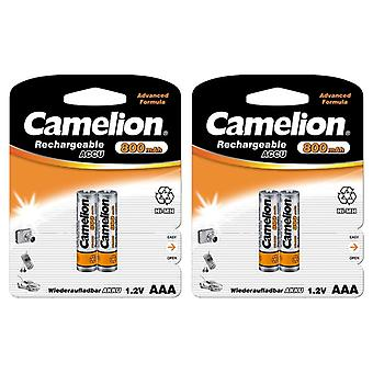 4x Camelion rechargeable batteries AAA NiMH 800mAh battery