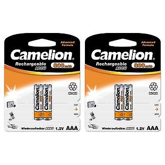 4X Camelion genopladelige batterier AAA NiMH 800mAh batteri