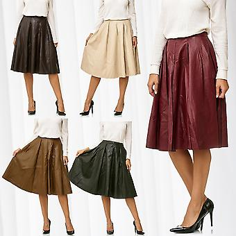 Womens Leather Skirt Pleated Skirt Midi Leather Optics Flared Maxi Volant Long