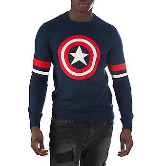 Captain America Symbol Blue Men's Sweater