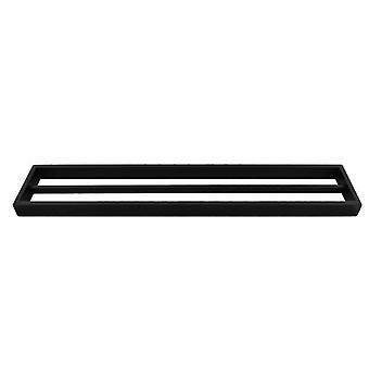 Omar Nero Square Matte Black Double Towel Rail 600mm