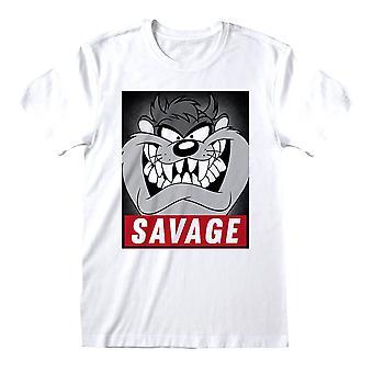 T-shirt à col d'équipage blanc De Looney Tunes Savage Taz Pour Hommes