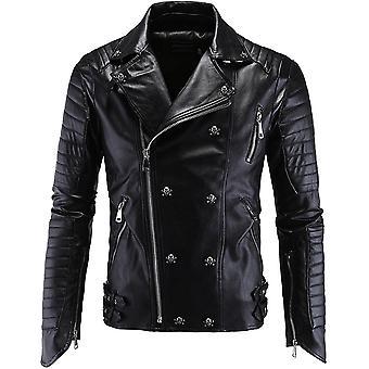 Allthemen Men's Leather Jacket Skull Decoration Leather Coat