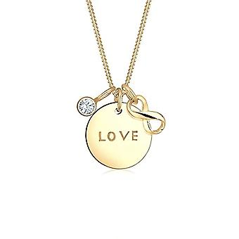 إلي فضة قلادة المرأة 925 مطلي بالذهب مع كريستال أبيض - الحب & أبوس;