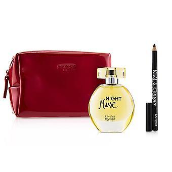 Bourjois Night Muse Coffret: Eau De Parfum Spray 50ml/1.6oz + Khol & Contour Eyeliner Pencil - #001 Noir-issime 1.2g/0.04oz + Glossy Bag - 2pcs+1Bag