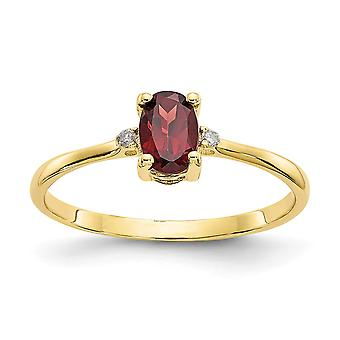 10k Yellow Gold Oval Prong set Polished Diamond Garnet Ring Size 6 Jewelry Gifts for Women - .01 dwt