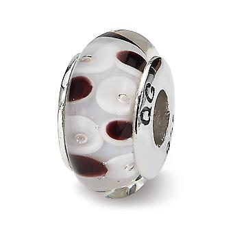925 Sterling Silver Polished Reflections Brown White Murano Glass Bead Charm Pendant Necklace Jewelry Gifts for Women