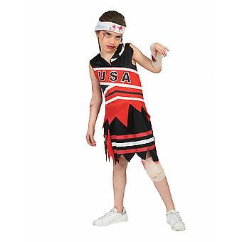Zombie USA Kids Costume Horror Halloween Costume Cheerleader Costume for Kids