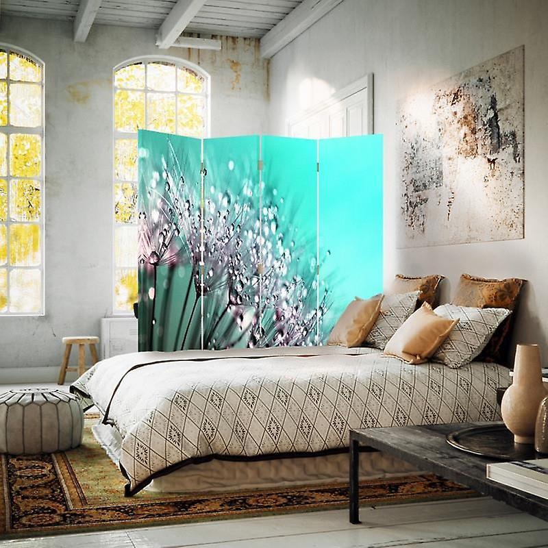 Diviseur de chambre, 4 panneaux, toile, dandelion et rosée