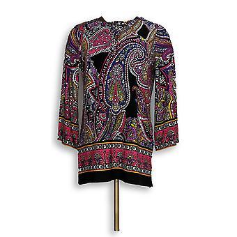 Susan Graver Femmes apos;s Top Printed Liquid Knit Black A306498