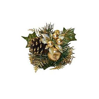 Gold Pine, Pine Cone, Apple & Christmas Flower Pick for Crafts