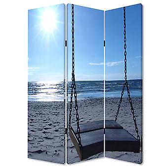 "1"" x 48"" x 72"" Multi Color Wood Canvas Seaside Serenity  Screen"