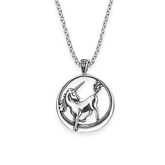 "Folklore Inspired Unicorn Round Shaped Necklace Pendant - Includes A 22"" Silver Chain"