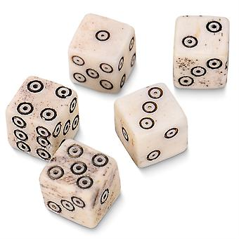Luck of the Lich Bullseye Bone Dice. 10mm Mini Dice