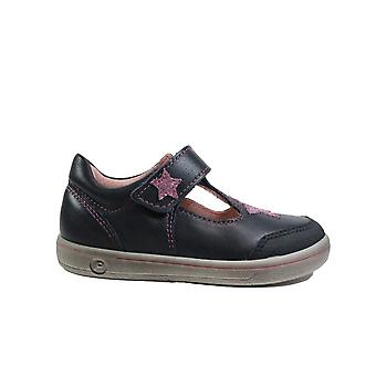 Ricosta Mandy 2625200-170 Navy Leather Girls Rip Tape T Bar Shoes