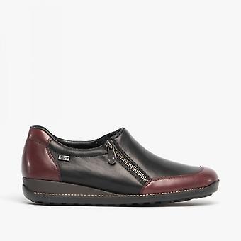 Rieker 44294-35 Ladies Leather zip sko svart/burgunder