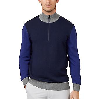 Wolsey Mens Colour Block 1/4 Zip Merino Wool Golf Sweater