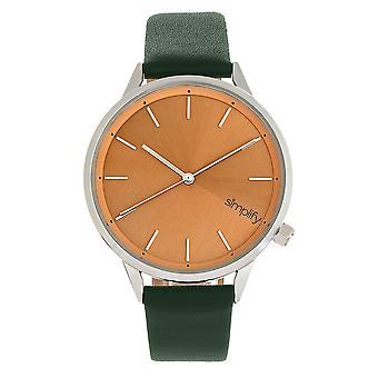 Vereenvoudig de 6700-serie riem horloge-bos groen/zilver