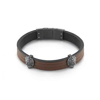 Bracelet Guess GUESS HERO UMB29013 - cuir marron et t�tes d'animaux canon de fusil Homme