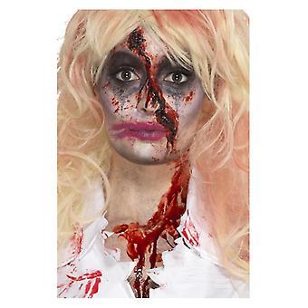 Zombie sygeplejerske Halloween make-up kit med ansigtsmaling, blod, hat & applikatorer