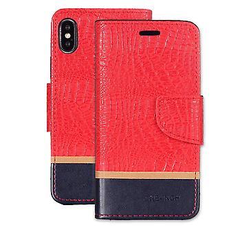 Krokodil Textur horizontal Flip Ledertasche für iPhone XR, rot