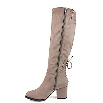 Brinley Co. Womens Knee-High Heeled Boot Taupe, 6 Extra Wide Calf US