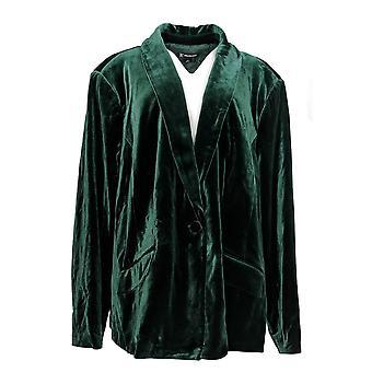 INC Kobiety's Plus Blazer 6D018 Velvet Blazer Hunter Forest Zielony