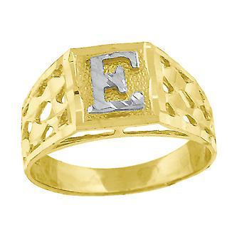 10k Deux tonalitéS Gold bébé pour les garçons ou les fillesNom personnalisé Monogramme initial E Band Ring Measures 6.6x3.50mm Wide S