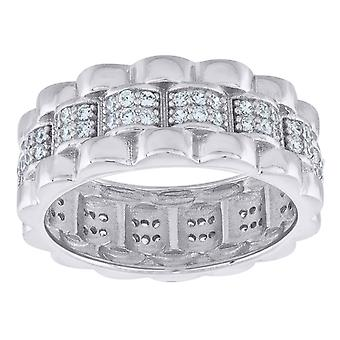 925 Sterling Silver Mens Two tone CZ Cubic Zirconia Simulated Diamond Presidential Size 7 7.5mm Eternity Ring Jewelry Gi