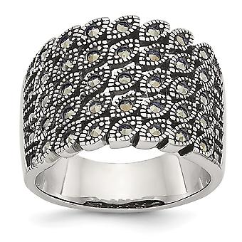 Stainless Steel Polished and Marcasite Ring Jewelry Gifts for Women - Ring Size: 6 to 9