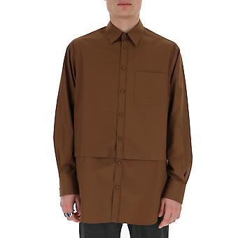 Valentino Tv0abe554ww64m Männer's braun Baumwollhemd
