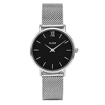 Cluse Watches Cl30015 Minuit Black & Silver Mesh Ladies Watch