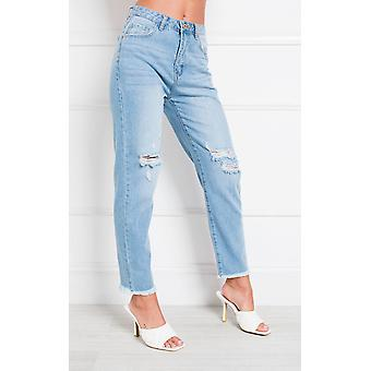 IKRUSH Womens Jay Distressed Straight Leg Jeans