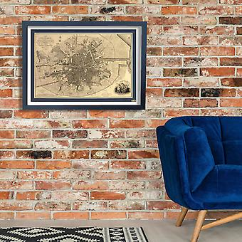 Dublin City Map 1797 Poster Print Giclee