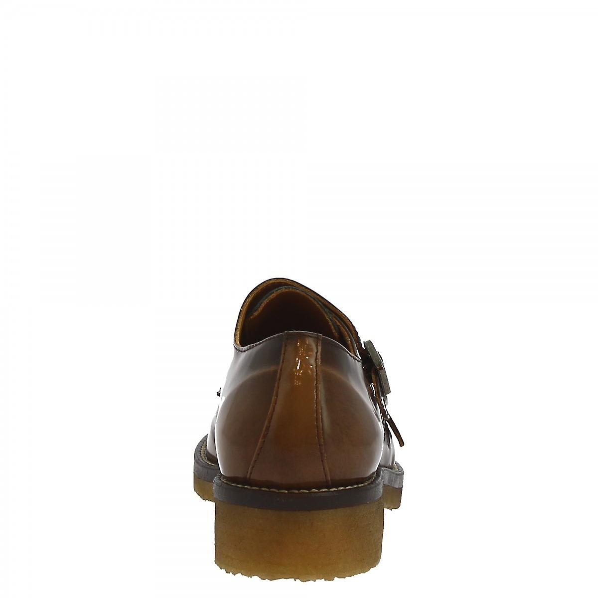 Leonardo Shoes Women's handmade double monks shoes brown brushed calf leather